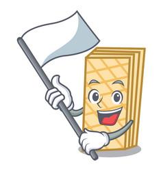 With flag waffle mascot cartoon style vector