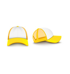 Yellow baseball trucker cap mockup from front and vector