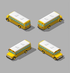 Yellow isometric 3d school bus flat style vector
