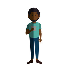 young man with smartphone avatar character vector image