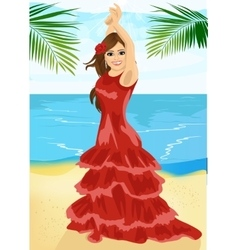 Young woman dancing flamenco on beach vector image vector image