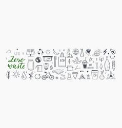 zero waste hand drawn infographic set vector image