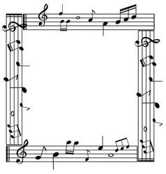 border template with musicnotes on white vector image vector image