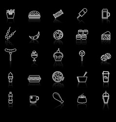 Fast food line icons with reflect on black vector