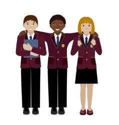 Group of school child in uniform flat vector image