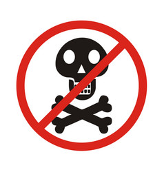 no skull and bones sign on white background vector image vector image