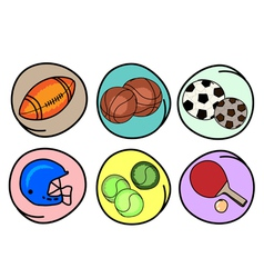 Set of Sports Equipment on Round Background vector image vector image