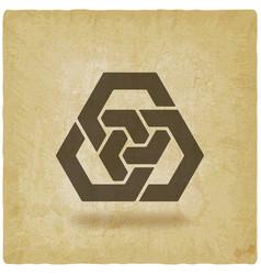 Abstract interlocking hexagons vintage background vector