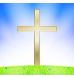 Cross on meadow vector image