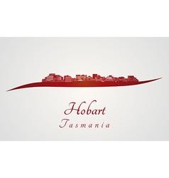 Hobart skyline in red vector image vector image