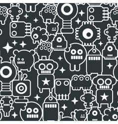 Black and white seamless background with monsters vector image vector image