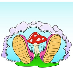 cartoon pink shoes with poison mushroom vector image vector image