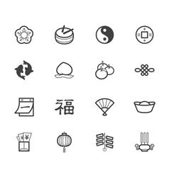chinese new year black icon set on white backgroun vector image