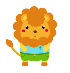 cute lion cartoon kawaii animal character in vector image vector image