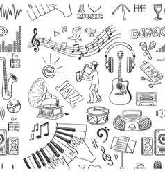 Hand drawn music pattern vector image