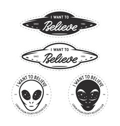 i want to believe patches set vintage vector image