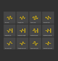 sine triangle square sawtooth wave types icons vector image vector image