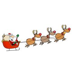 Team Of Reindeer And Santa In His Sleigh Flying vector image
