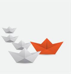 winner red paper ship vector image