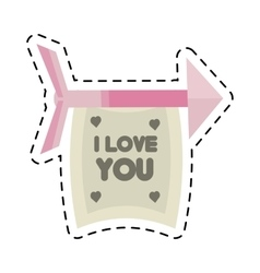 happy valentines day card arrows with banner cut vector image