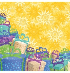 Holiday gift boxes background vector image vector image