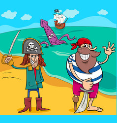 pirates on island cartoon vector image