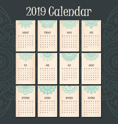 2019 calendar with lovely mandala header for each vector image