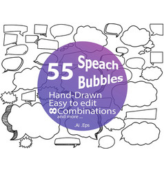 55 hand-drawn speach bubbles in vector