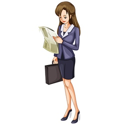 A woman reading a newspaper vector image