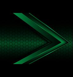 Abstract green metallic arrow on hexagon mesh vector