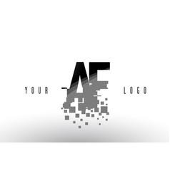 Af a f pixel letter logo with digital shattered vector