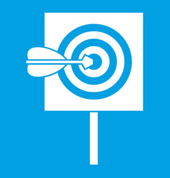 Arrow in the center of target icon white vector
