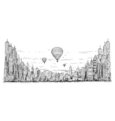 artistic drawing hot air balloons over generic vector image