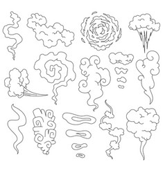 bad smell smoke line clouds steam smoke clouds vector image