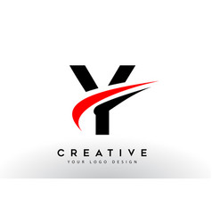Black and red creative y letter logo design with vector