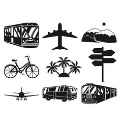 Black and white 9 vacation monochrome elements vector