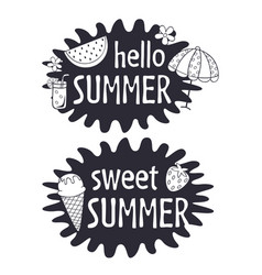 Black and white summer lettering compositions vector
