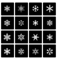 black snowflake icon set vector image