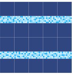 blue ceramic tile mosaic in swimming pool vector image