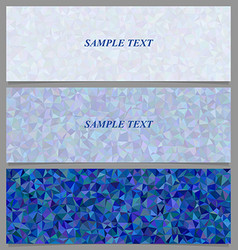 Blue tiled triangle mosaic banner design set vector