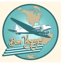 Bon voyage abstract retro plane poster vector