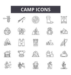 camp line icons signs set outline vector image