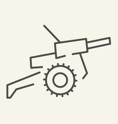 Cannon thin line icon war vector
