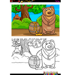 Cartoon bear with honey coloring book vector
