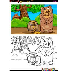 cartoon bear with honey coloring book vector image