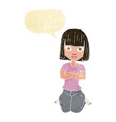 Cartoon woman kneeling with speech bubble vector