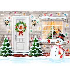 christmas facade decoration vector image