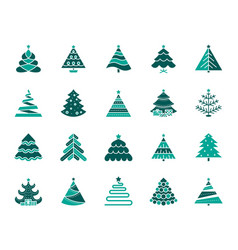 christmas tree simple color flat icons set vector image