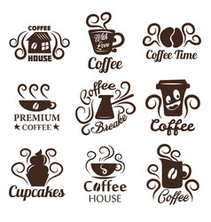 coffee house isolated icons drink and snack pastry vector image