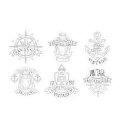 collection nautical vintage sea labels vector image